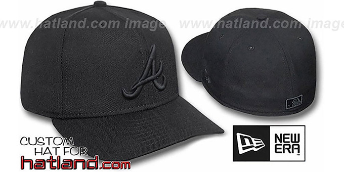 Braves 'BLACKOUT' Fitted Hat by New Era : pictured without stickers that these products are shipped with