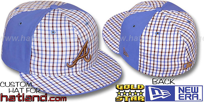 Braves 'BLUE BONNETT' Plaid-Light Blue Fitted Hat by New Era : pictured without stickers that these products are shipped with