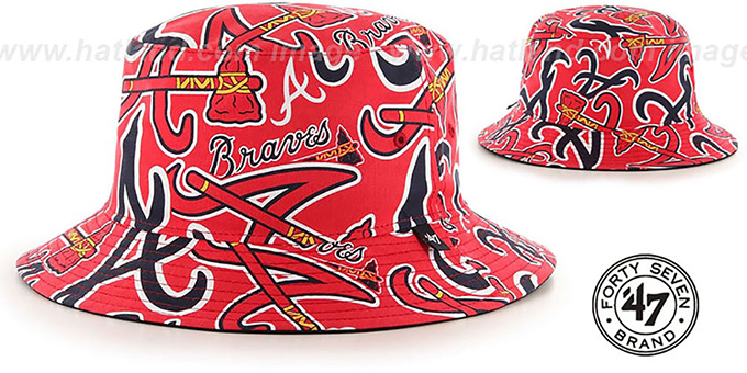 Braves 'BRAVADO BUCKET' Hat by Twins 47 Brand : pictured without stickers that these products are shipped with
