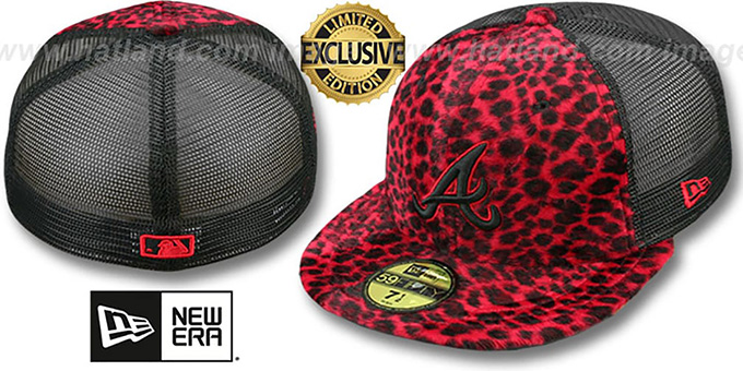 Braves CHEETAH 'ANIMAL-FUR MESH-BACK' Fitted Hat by New Era : pictured without stickers that these products are shipped with