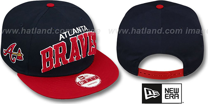 Braves 'CHENILLE-ARCH SNAPBACK' Navy-Red Hat by New Era : pictured without stickers that these products are shipped with