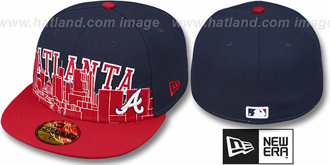 Braves 'CITY-LINE' Navy-Red Fitted Hat by New Era : pictured without stickers that these products are shipped with