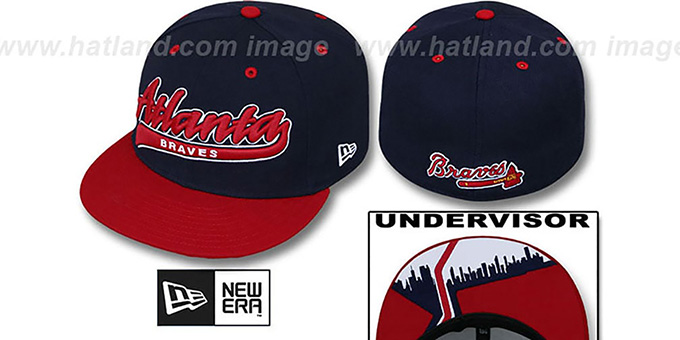 Braves 'CITY-SCRIPT' Navy-Red Fitted Hat by New Era : pictured without stickers that these products are shipped with