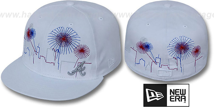 Braves 'CITY-SKYLINE FIREWORKS' White Fitted Hat by New Era : pictured without stickers that these products are shipped with
