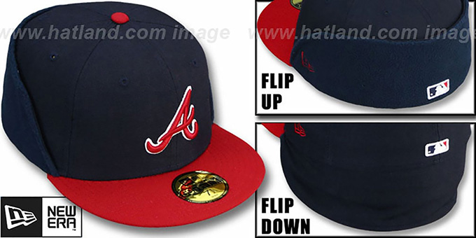 Braves 'CLEAN CUT FLIP-DOWN' Navy-Red Fitted Hat by New Era : pictured without stickers that these products are shipped with