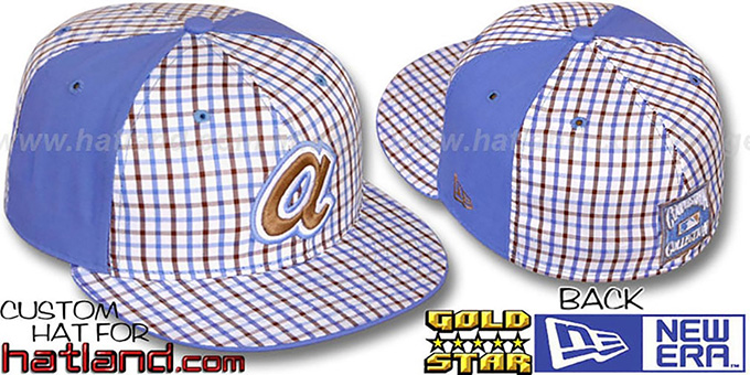 Braves COOP 'BLUE BONNETT' Plaid-Light Blue Fitted Hat by New Era : pictured without stickers that these products are shipped with