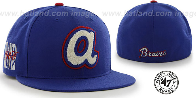 Braves COOP 'CATERPILLAR' Royal Fitted Hat by 47 Brand : pictured without stickers that these products are shipped with