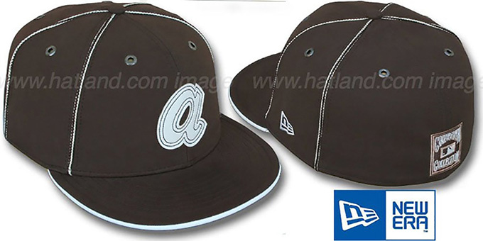 Braves COOP 'CHOCOLATE DaBu' Fitted Hat by New Era : pictured without stickers that these products are shipped with