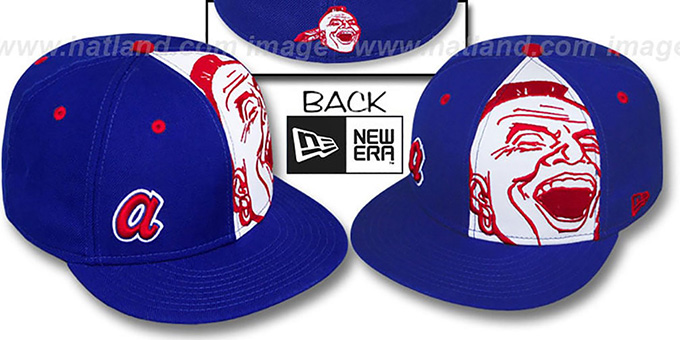 Braves COOP 'MASCOT-ZOOM' Royal Fitted Hat by New Era : pictured without stickers that these products are shipped with