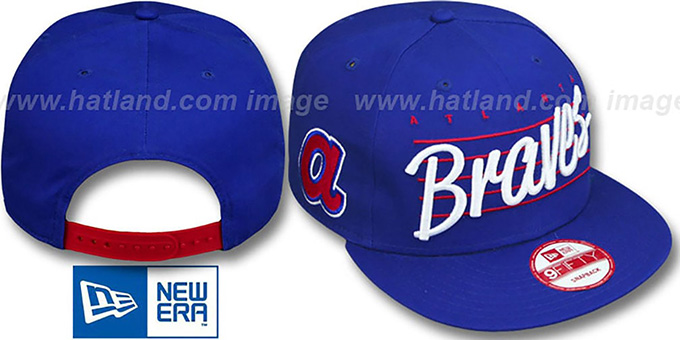 Braves COOP 'SCRIPTLINER SNAPBACK' Royal Adjustable Hat by New Era : pictured without stickers that these products are shipped with