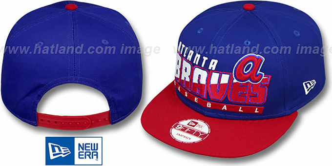 Braves COOP 'SLICE-N-DICE SNAPBACK' Royal-Red Hat by New Era : pictured without stickers that these products are shipped with