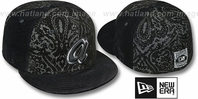 Braves COOP 'VELVET PAISLEY' Black Fitted Hat by New Era : pictured without stickers that these products are shipped with