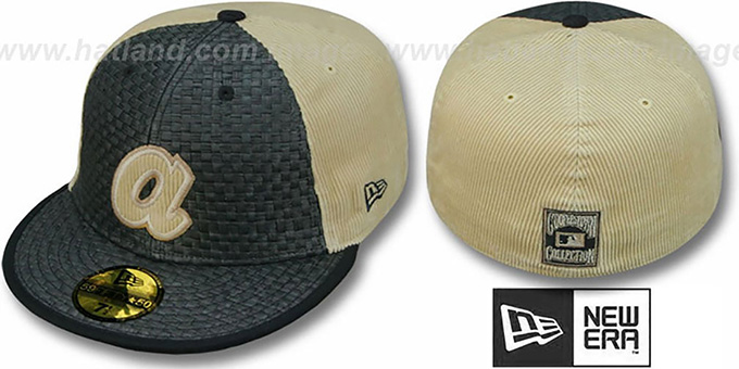 Braves COOP 'WEAVE-N-CORD' Fitted Hat by New Era - black-tan : pictured without stickers that these products are shipped with