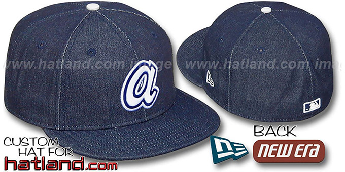 Braves 'COOPERSTOWN DENIM' Navy Fitted Hat by New Era : pictured without stickers that these products are shipped with