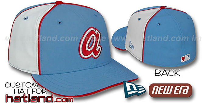 Braves COOPERSTOWN 'PINWHEEL-2' Columbia-White Fitted Hat : pictured without stickers that these products are shipped with