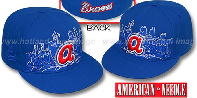 Braves 'COOPERSTOWN SKYLINE' Royal Fitted Hat by American Needle : pictured without stickers that these products are shipped with
