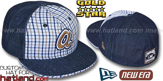 Braves 'COOPERSTOWN SPANKY' Plaid-Navy Denim Fitted Hat by New Era : pictured without stickers that these products are shipped with
