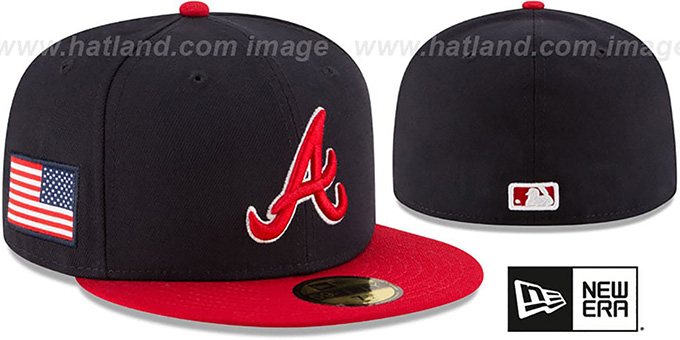Braves 'COUNTRY COLORS' Navy-Red Fitted Hat by New Era : pictured without stickers that these products are shipped with