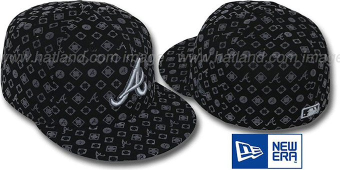 Braves 'D-LUX ALL-OVER' Black-Grey Fitted Hat by New Era : pictured without stickers that these products are shipped with