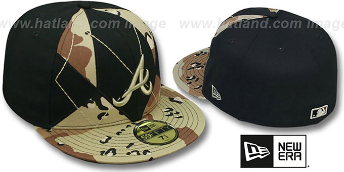 Braves 'DESERT STORM CAMO BRADY' Fitted Hat by New Era : pictured without stickers that these products are shipped with