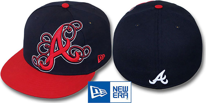 Braves 'DUBCHA' Navy-Red Fitted Hat by New Era : pictured without stickers that these products are shipped with