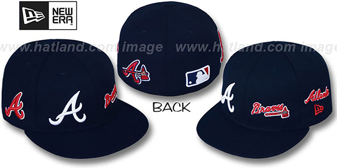 Braves 'EVOLUTION' Fitted Hat by New Era - navy : pictured without stickers that these products are shipped with