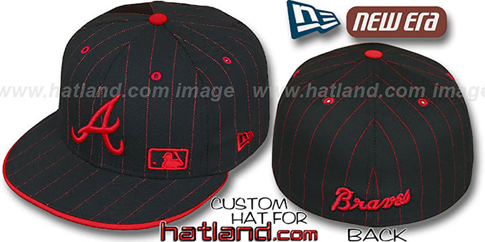 Braves 'FABULOUS' Black-Red Fitted Hat by New Era : pictured without stickers that these products are shipped with