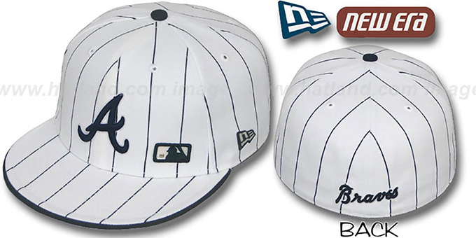 Braves 'FABULOUS' White-Navy Fitted Hat by New Era : pictured without stickers that these products are shipped with