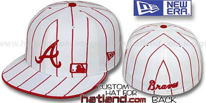 Braves 'FABULOUS' White-Red Fitted Hat by New Era : pictured without stickers that these products are shipped with