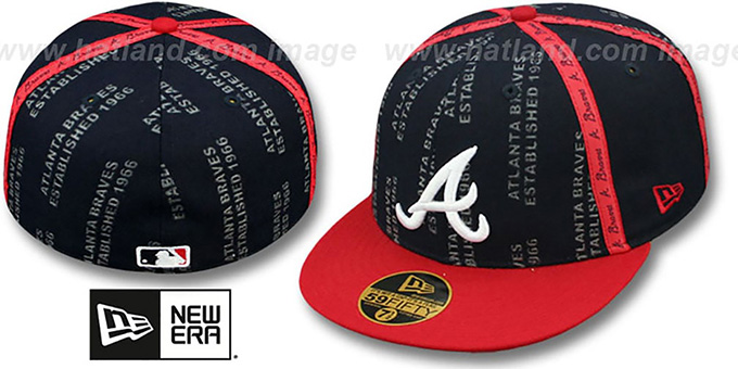 Braves 'GELLIN' Navy-Red Fitted Hat by New Era : pictured without stickers that these products are shipped with