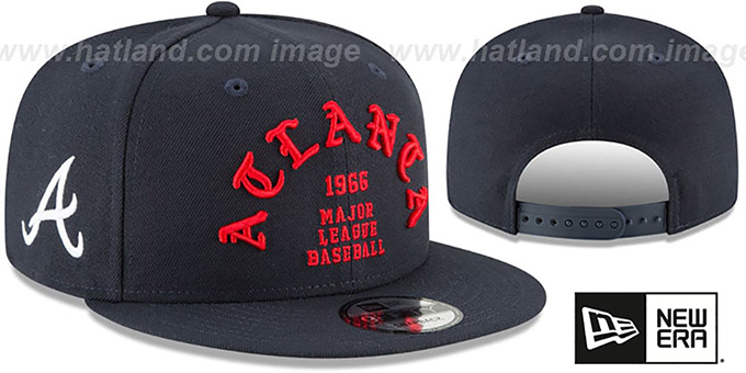 8ed3f58afc4f3 Atlanta Braves GOTHIC-ARCH SNAPBACK Navy Hat by New Era
