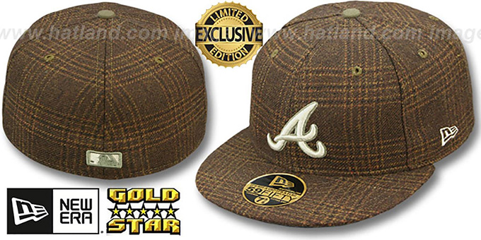 Braves 'HARRIS TWEED' Fitted Hat by New Era : pictured without stickers that these products are shipped with