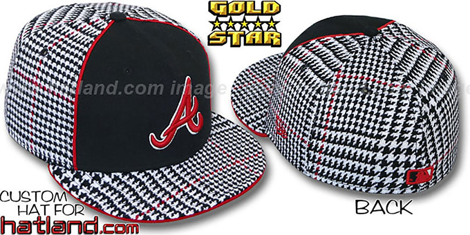 Braves 'HOUND DOG' Fitted Hat by New Era : pictured without stickers that these products are shipped with
