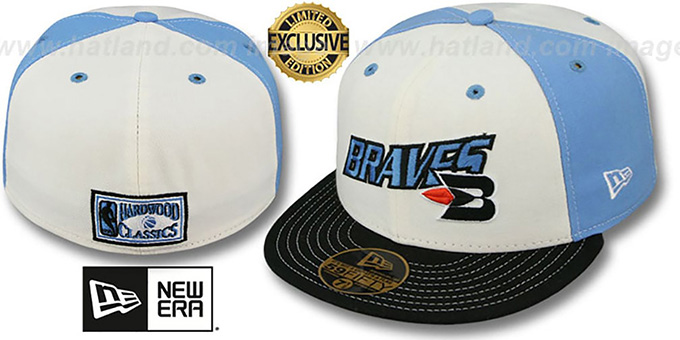 Braves 'HW TEAM-UP PINWHEEL' White-Sky Fitted Hat by New Era : pictured without stickers that these products are shipped with
