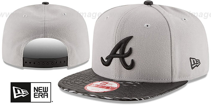 Braves 'LEATHER-RIP SNAPBACK' Grey-Black Hat by New Era : pictured without stickers that these products are shipped with