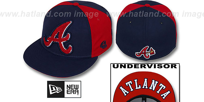 Braves 'LETTERMAN' Navy-Red Fitted Hat by New Era : pictured without stickers that these products are shipped with