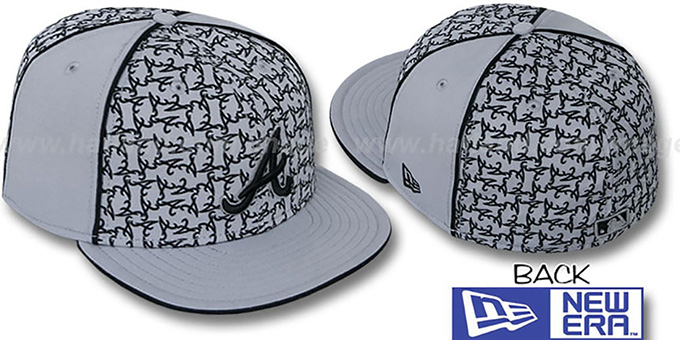 Braves 'LOS-LOGOS' Grey-Black Fitted Hat by New Era : pictured without stickers that these products are shipped with