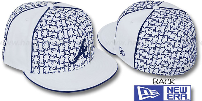 Braves 'LOS-LOGOS' White-Navy Fitted Hat by New Era : pictured without stickers that these products are shipped with