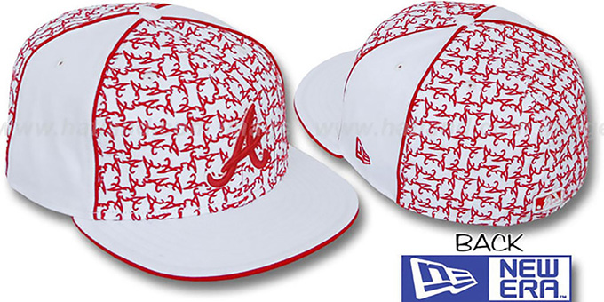 Braves 'LOS-LOGOS' White-Red Fitted Hat by New Era : pictured without stickers that these products are shipped with