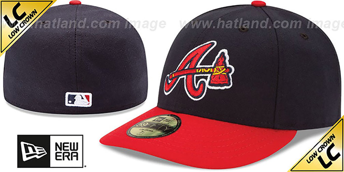 Braves 'LOW-CROWN ALTERNATE' Fitted Hat by New Era : pictured without stickers that these products are shipped with