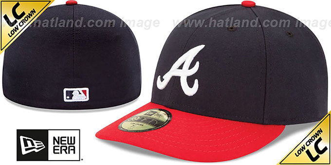 Braves 'LOW-CROWN' HOME Fitted Hat by New Era : pictured without stickers that these products are shipped with