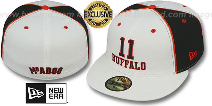 Braves McADOO 'TEAM-UP' White-Black  Fitted Hat by New Era : pictured without stickers that these products are shipped with