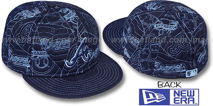 Braves 'MELTON PUFFY' Navy Fitted Hat by New Era : pictured without stickers that these products are shipped with
