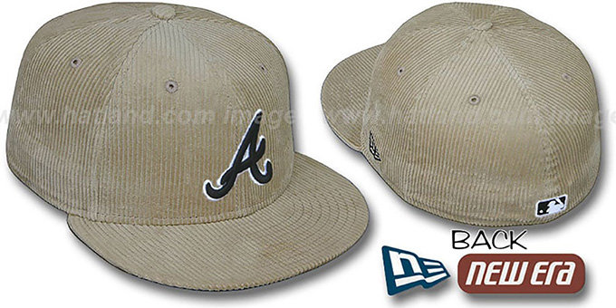 Braves 'MELVILLE CORD' Tan Fitted Hat by New Era : pictured without stickers that these products are shipped with