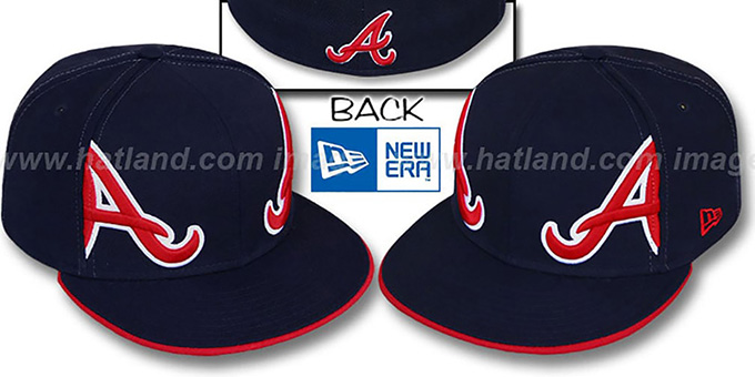 Braves 'MIRROR PANELCUT' Navy Fitted Hat by New Era : pictured without stickers that these products are shipped with
