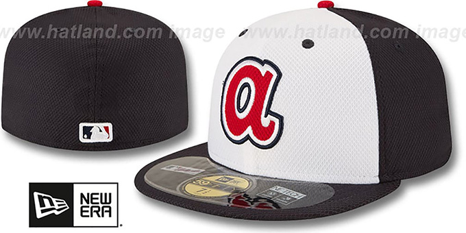 Braves 'MLB DIAMOND-ERA BP' White-Navy Hat by New Era : pictured without stickers that these products are shipped with