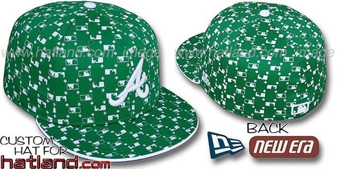 Braves 'MLB FLOCKING' Kelly Fitted Hat by New Era : pictured without stickers that these products are shipped with