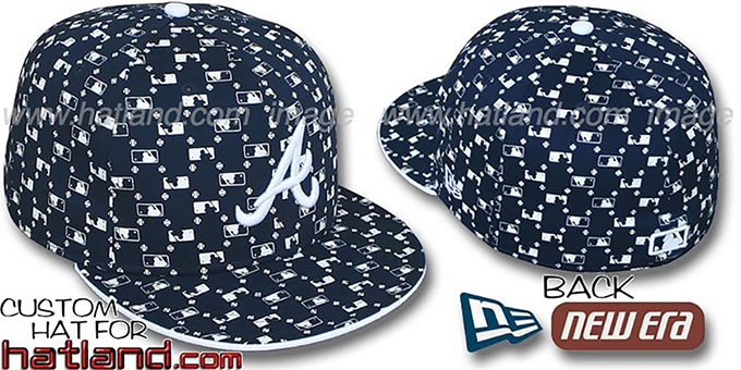 Braves 'MLB FLOCKING' Navy Fitted Hat by New Era : pictured without stickers that these products are shipped with