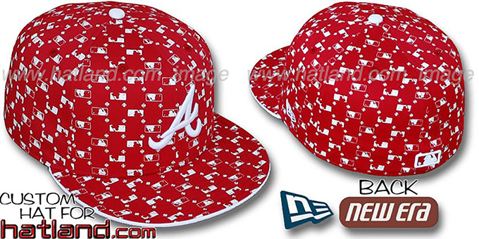 Braves 'MLB FLOCKING' Red Fitted Hat by New Era : pictured without stickers that these products are shipped with