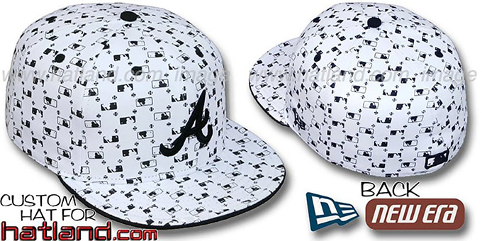 Braves 'MLB FLOCKING' White-Black Fitted Hat by New Era : pictured without stickers that these products are shipped with